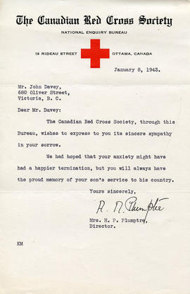 Document: Letter from Red Cross - January 8, 1943