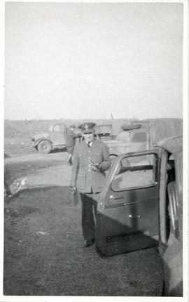 Photo: RCAF Airman in Front of Car