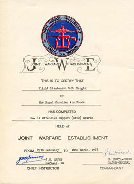 Document: Certificate from the Joint Warfare Establishment awarded to F/L D.D. Bergie for complet...