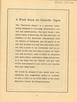 Document: Karlsruhe Digest Club Booklet - Page 1