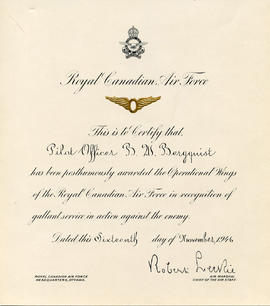 Document: Operational Wings of the RCAF Certificate