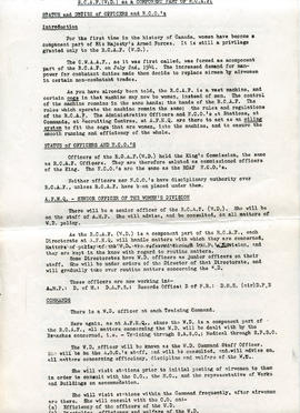 Document: RCAF WD as a Component Part of RCAF - Page 1