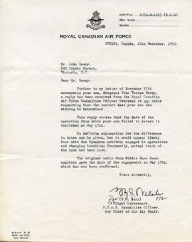 Document: Letter from RCAF Flight Lieutenant - December 14, 1942