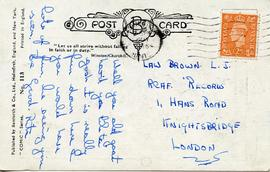 Document: Postcard to Brown - Back