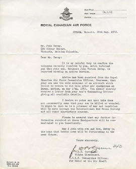 Document: Letter from RCAF FL Corcoran - May 20, 1942
