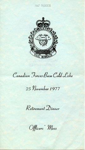 Document: Cold Lake Retirement Dinner Menu - Cover