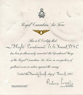 Document: Posthumous Awarding of Operational Wings to FL E.E. Kearl