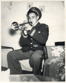Photo: D.D. Bergie as Cadet Playing Trumpet