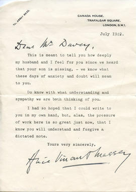 Document: Letter from Alice Massey - July 1942