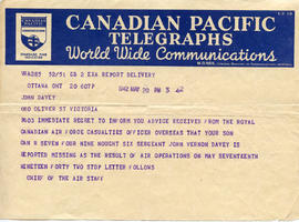 Document: Chief of Air Staff Telegram - May 20, 1942