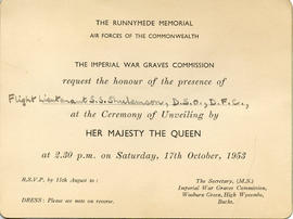 Document: Invitation to the Unveiling of the Runnymede Memorial - B