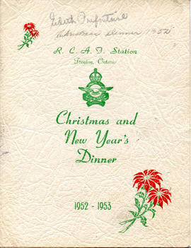 Document: Christmas 1952-53 Dinner Menu - Cover
