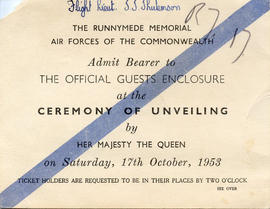 Document: Invitation to the Unveiling of the Runnymede Memorial