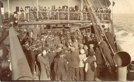 Photo: Civilians and Soldiers on Boat Deck