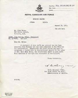 Document: Estates Branch Letter - August 30, 1943