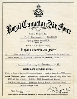 Document: Honourable Discharge Certificate - Front