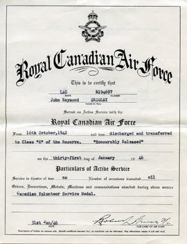 Document: RCAF Discharge Certificate to LAC John Raymond Srigley - Front