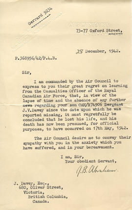 Document: Letter from RAF Air Ministry  - December 28, 1942