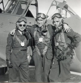 Photo: Three RCAF Pilots in Flight Suits Outside Harvard Aircraft