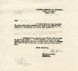 Document: Letter from Standing Committee of Adjustment - June 18, 1942