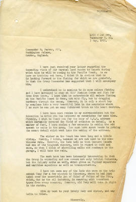 Letter: To Commander M. Parker about Air Vice Marshal Lord Bandon's Visit to the Pacific Coast (A...