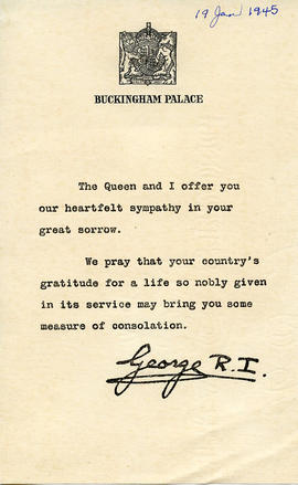 Document: Sympathy Card from Royal Family