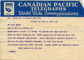 Document: Casualties Office Telegram - December 31, 1942