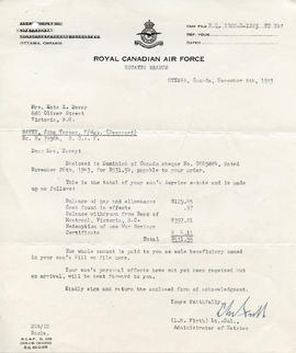Document: Letter from RCAF Estate Branch - December 8, 1943