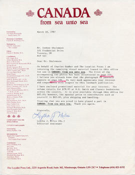 Document: Letter from Canada: From Sea Unto Sea