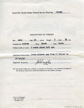 Document: RCAF Discharge Certificate to LAC John Raymond Srigley - Back