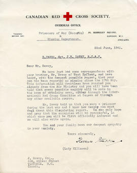 Document: Letter from Red Cross POW and Missing Department - June 22, 1942