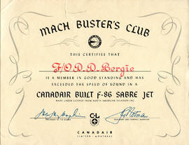 Document: Mach Buster's Club F-86 Sabre Certificate