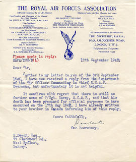 Document: Letter from RCAF Association - Sept 13 1945