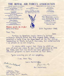 Document: Letter from RCAF Association - September 13, 1945