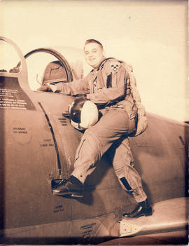 Photo: D.D. Bergie in flight suit about to board an aircraft