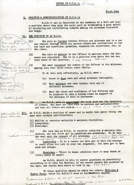 Document: Duties of NCO Notes