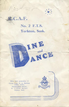 Document: RCAF No. 2 FTS Yorkton, Sask. Dine and Dance Menu - Cover
