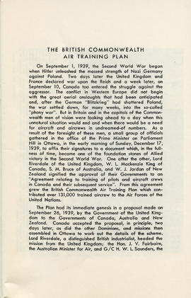 Booklet: The British Commonwealth Air Training Plan 1939-1945 (AF2012.034.007 PAGE 1)