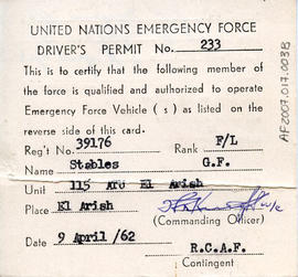 Document: United Nations Emergency Force Driver's Permit - Front