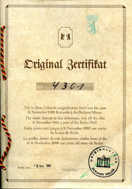 Document: Berlin Wall Certificate of Authenticity - Cover
