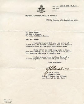 Document: Letter from RCAF Casualties Office - September 18, 1942