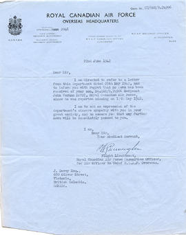 Document: Letter from RCAF Overseas Headquarters - June 22, 1942