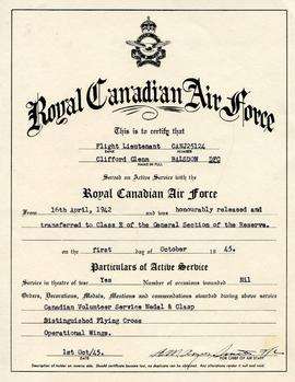 Document: RCAF Discharge Paper