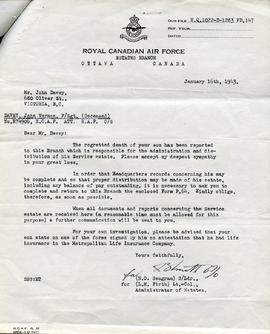 Document: Letter from RCAF Estate Branch - January 16, 1943