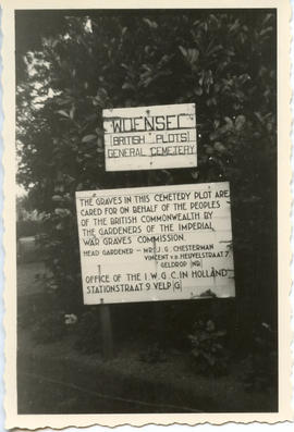 Postcard: Entrance Sign to Wuensel Cemetary