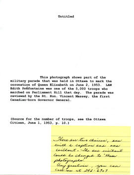 Document: Information on Coronation Photographs