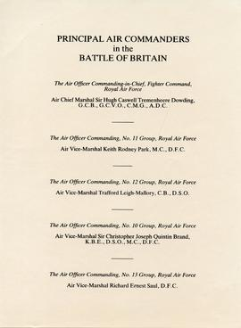 Document: Principal Air Commanders in the Battle of Britain